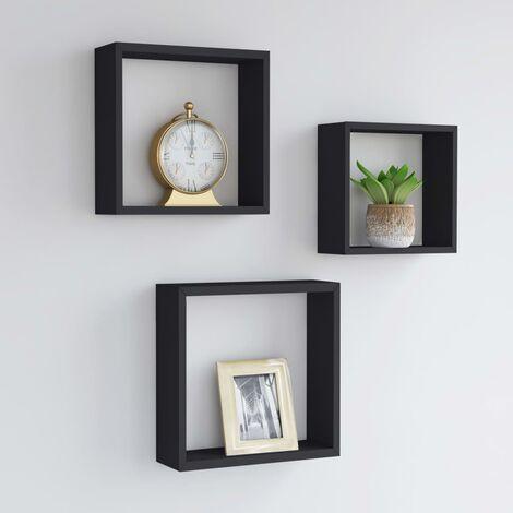 Estantes de cubos para pared 3 piezas negro - Negro