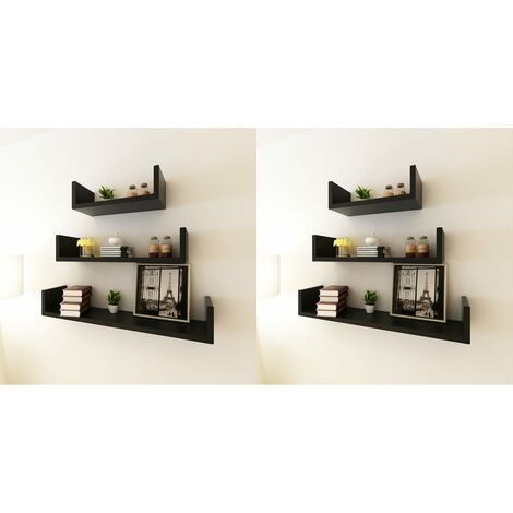 Estantes de pared 6 unidades negro