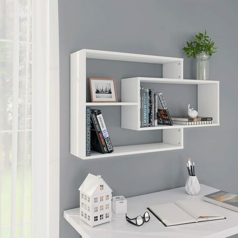 Estantes de pared de aglomerado blanco 104x20x60 cm