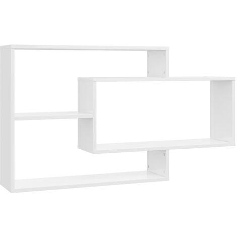 Estantes de pared de aglomerado blanco brillante 104x20x60 cm