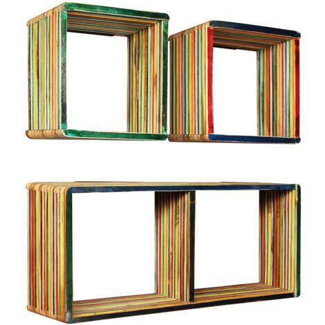 Estantes de pared de madera reciclada de teca maciza 3 piezas