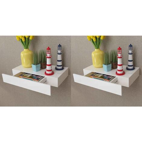 Estantes de pared flotantes con cajones 2 uds blanco 48 cm