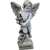 ESTATUA ANGEL DE PIEDRA* PARA JARDIN O EXTERIOR 55cm.
