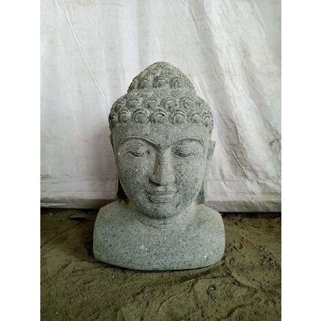 Estatua busto de Buda de piedra volcánica 40 cm