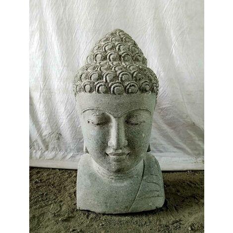 Estatua Busto de Buda de piedra volcánica 70 cm deco zen