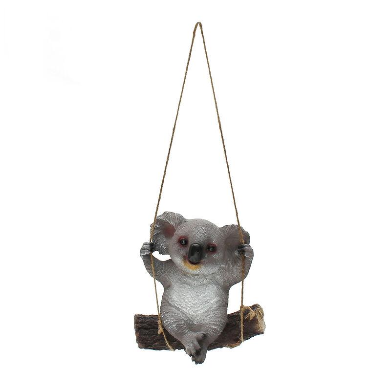 Augienb - Estatua de adornos de jardín de animales de columpio de Koala de resina de 29 cm con cuerda colgante