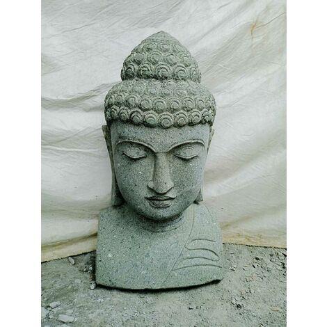 Estatua de Buda busto de piedra volcánica exterior zen 70 cm