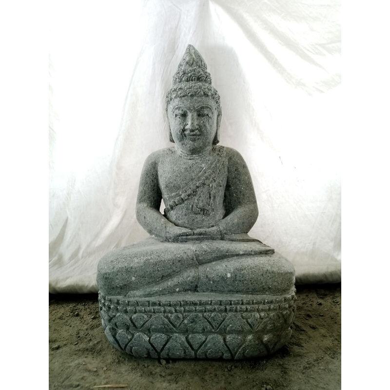Estatua de Buda sukothai de piedra volcánica en posición de ofrenda jardín zen 50 cm - WANDA COLLECTION