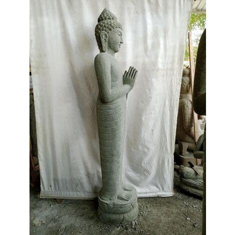 Estatua de jardín Buda de piedra natural de pie en posición de rezo 2 m