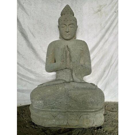 Estatua de jardín de piedra volcánica de Buda sentado en posición de rezo 1,20 m