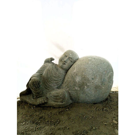 Estatua de jardín exterior monje shaolín de piedra volcánica natural 1 m