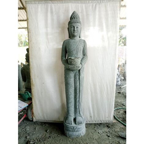 Estatua de piedra Buda de pie ofrenda bol 2 m