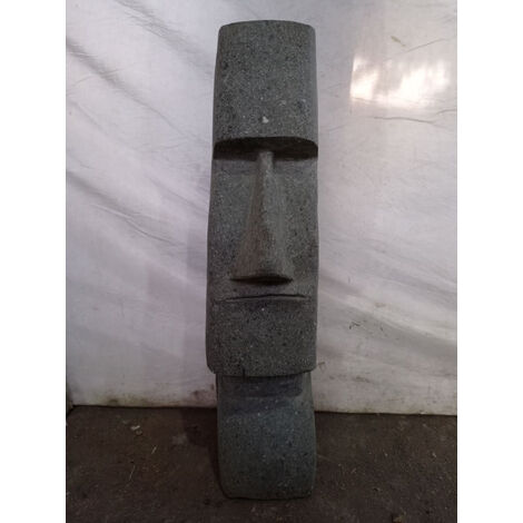 Estatua de piedra volcánica moái rostro alargado 60 cm