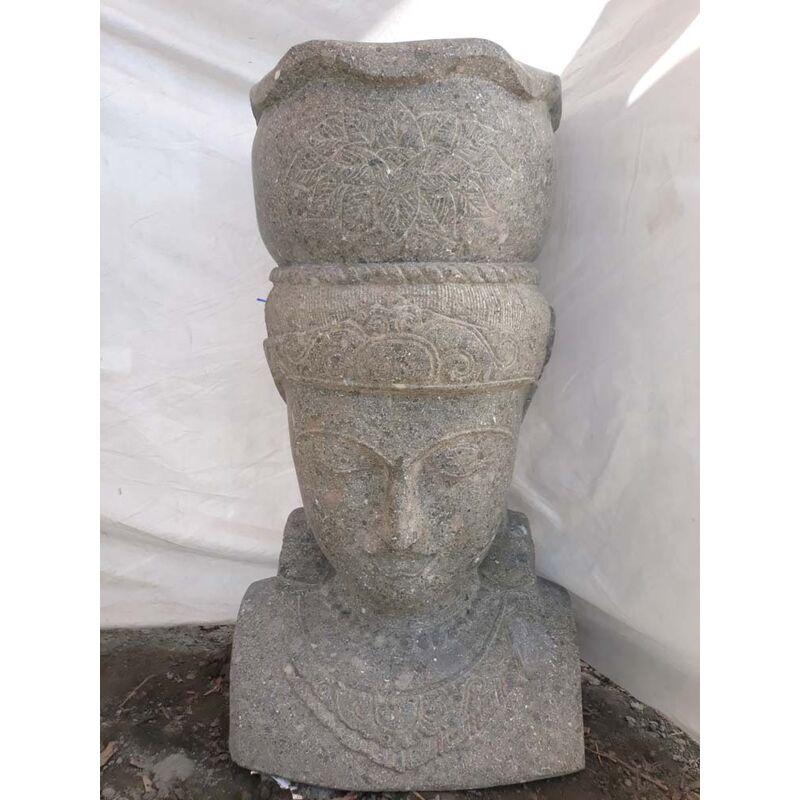 Estatua diosa balinesa de piedra volcánica maceta jardín 70 cm