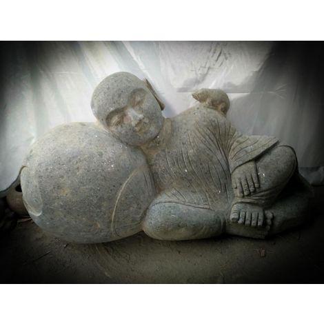 Estatua exterior de jardín zen monje shaolín de piedra 1 m