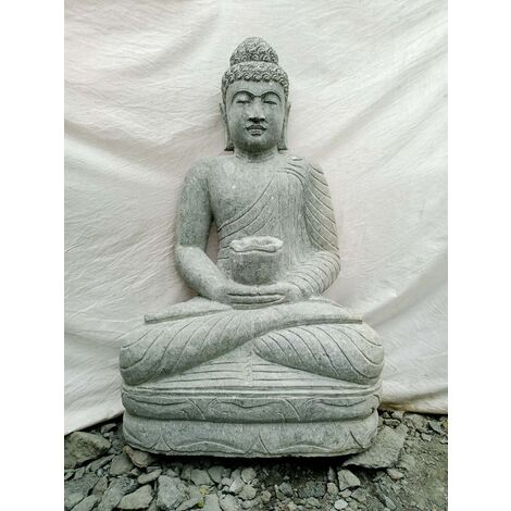 Estatua jardín de Buda sentado piedra volcánica bol 1,20 m