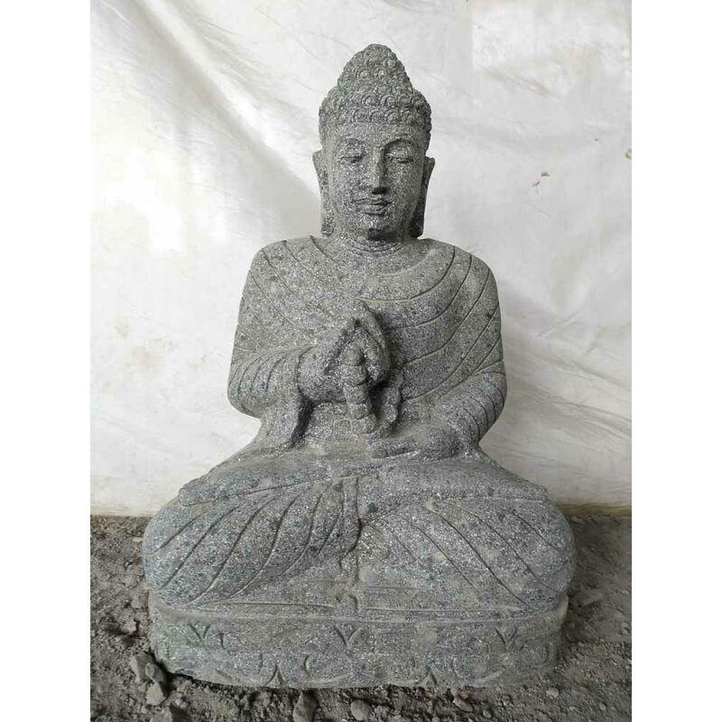 Estatua jardín exterior Buda sentado piedra volcánica collar 50 cm - WANDA COLLECTION