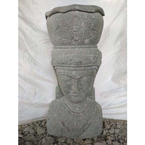 Estatua jardin macetero diosa balinesa de piedra volcánica 80 cm