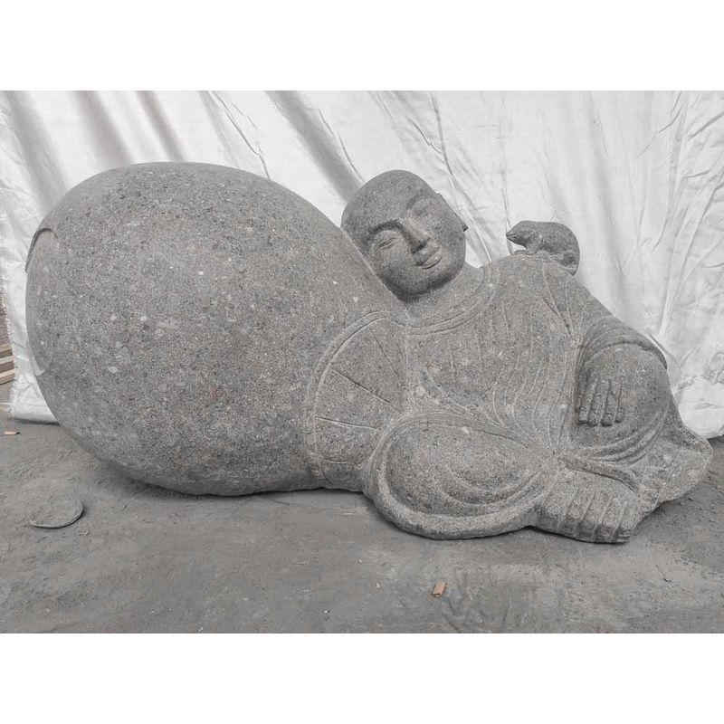 Wanda Collection - Estatua zen de piedra de jardín monje shaolín 1 m