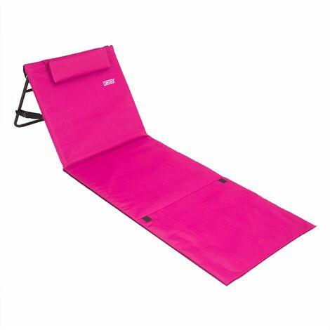 """main image of """"Estera de playa plegable portátil con respaldo ajustable y reposacabezas 158x56cm bolsillo de almacenamiento viajes picnic"""""""