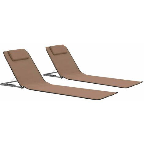 Esteras de playa plegables 2 unidades acero y tela marron