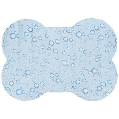 Esterilla refrigerante perros forma hueso azul claro M 60x45 cm