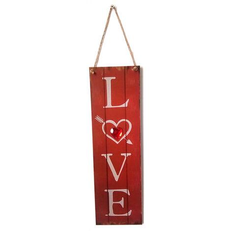 Estilo de la vendimia de madera que cuelga de pared Decoracion de mesa hechos a mano signos puerta rustica Adornos placa Percha de vacaciones de San Valentin regalo, 2 #