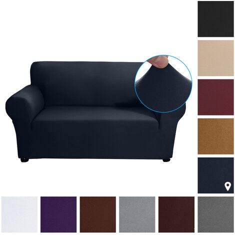 Estiramiento funda de sofa leche tela de seda antideslizante suave Sofa Sofa 2 plazas cubierta lavable para la sala para ninos Se aceptan, azul marino