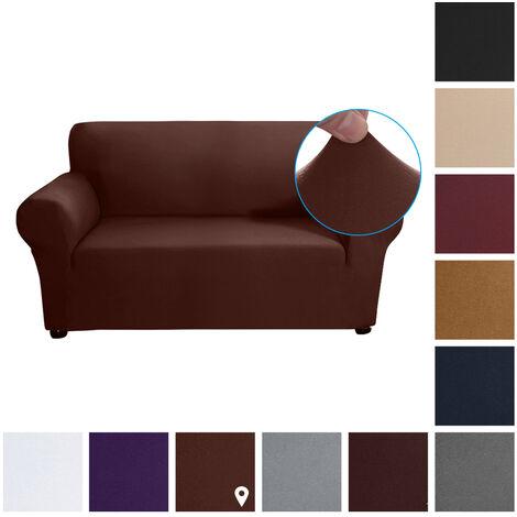 Estiramiento funda de sofa leche tela de seda antideslizante suave Sofa Sofa 2 plazas cubierta lavable para la sala para ninos Se aceptan, Luz del cafe