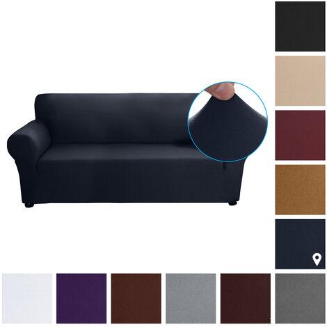 Estiramiento funda de sofa leche tela de seda antideslizante suave Sofa Sofa 3 plazas cubierta lavable para la sala para ninos Se aceptan, azul marino