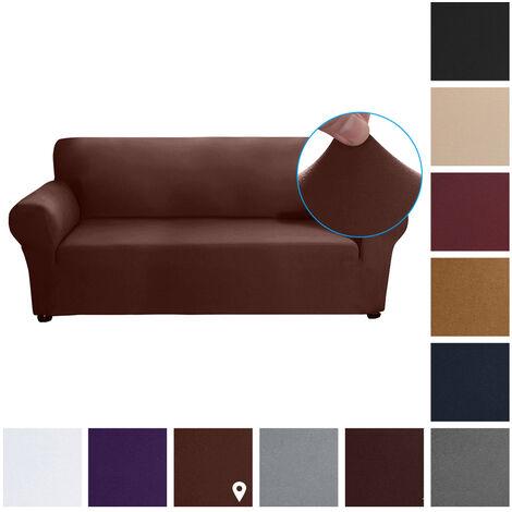 Estiramiento funda de sofa leche tela de seda antideslizante suave Sofa Sofa 3 plazas cubierta lavable para la sala para ninos Se aceptan, Luz del cafe
