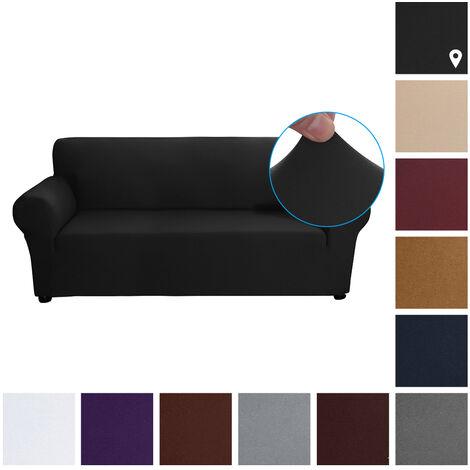 Estiramiento funda de sofa leche tela de seda antideslizante suave Sofa Sofa 3 plazas cubierta lavable para la sala para ninos Se aceptan, Negro