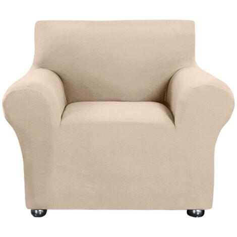 Estiramiento funda de sofa leche tela de seda antideslizante suave Sofa Sofa Cover 1 plazas lavable para la sala para ninos Se aceptan, Beige