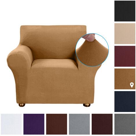 Estiramiento funda de sofa leche tela de seda antideslizante suave Sofa Sofa Cover 1 plazas lavable para la sala para ninos Se aceptan, Camel
