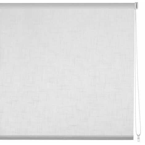 Estor enrollable blanco de tela de 120x250 cm