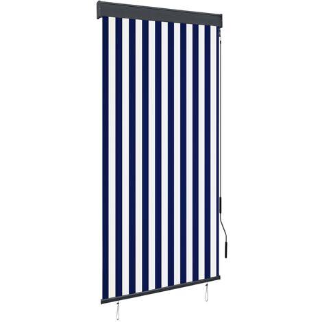 Estor enrollable de exterior azul y blanco 100x250 cm