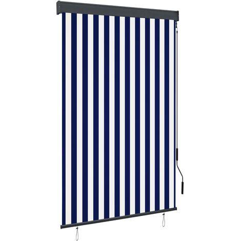 Estor enrollable de exterior azul y blanco 120x250 cm
