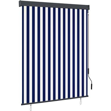 Estor enrollable de exterior azul y blanco 140x250 cm