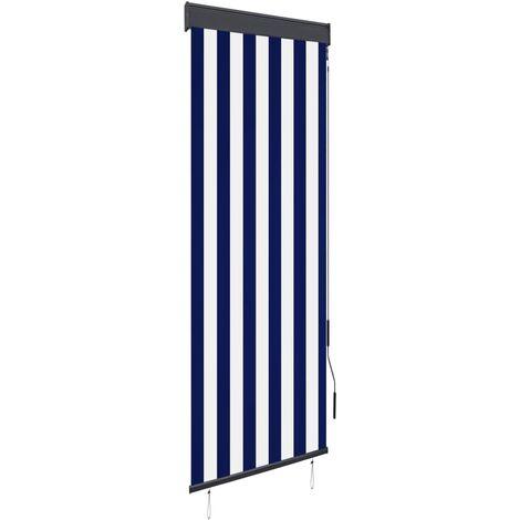Estor enrollable de exterior azul y blanco 60x250 cm