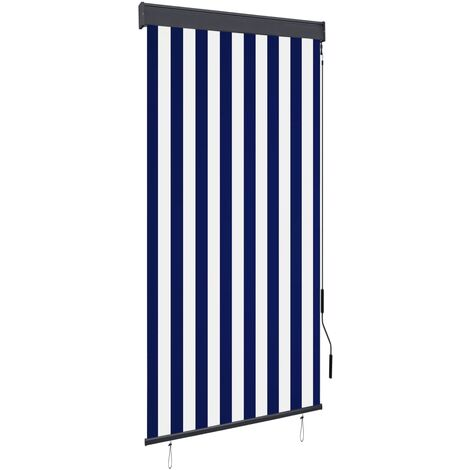 Estor enrollable de exterior azul y blanco 80x250 cm