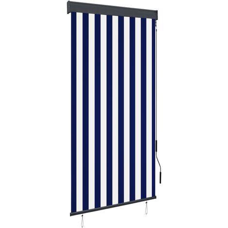 Estor enrollable de exterior azul y blanco 80x250 cm - Azul