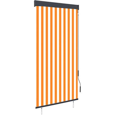 Estor enrollable de exterior blanco y naranja 100x250 cm