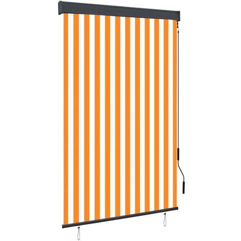 Estor enrollable de exterior blanco y naranja 120x250 cm
