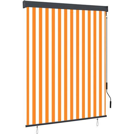 Estor enrollable de exterior blanco y naranja 140x250 cm