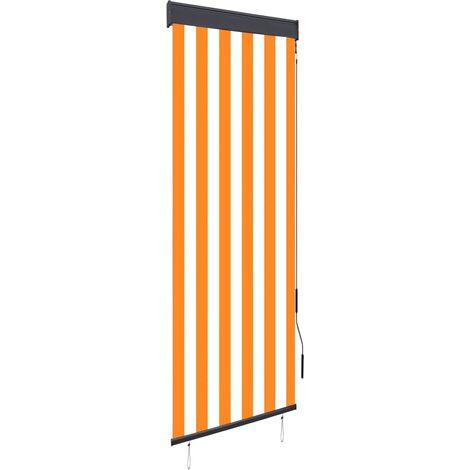 Estor enrollable de exterior blanco y naranja 60x250 cm