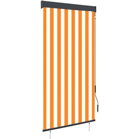 Estor enrollable de exterior blanco y naranja 80x250 cm
