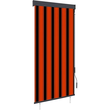 Estor enrollable de exterior naranja y marrón 100x250 cm