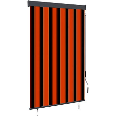 Estor enrollable de exterior naranja y marron 120x250 cm