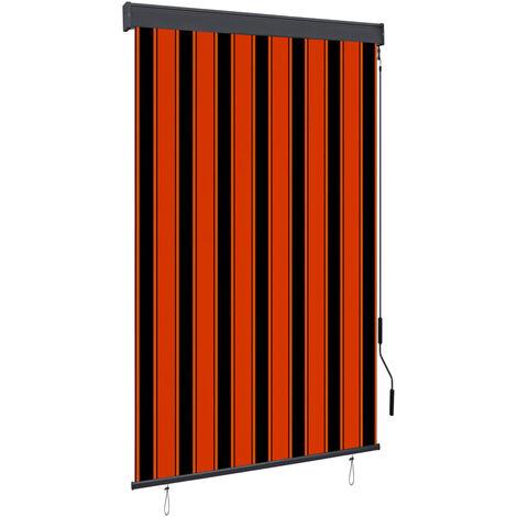 Estor enrollable de exterior naranja y marrón 120x250 cm - Naranja