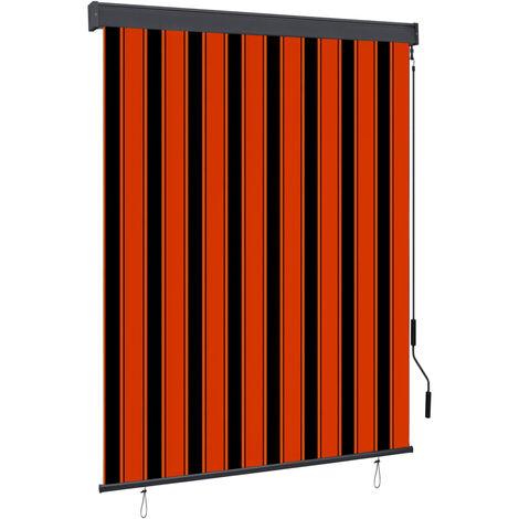 Estor enrollable de exterior naranja y marrón 140x250 cm